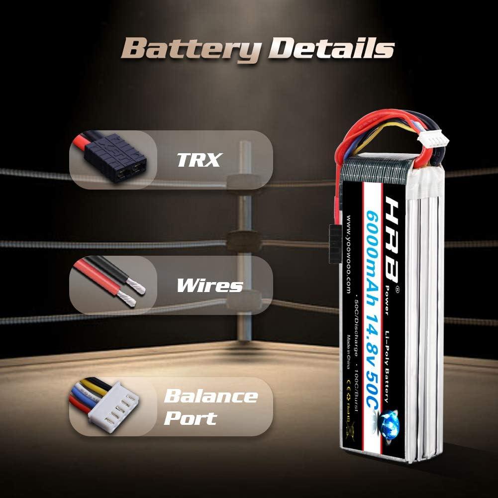 HRB 4S Lipo - Batería para Traxxas Slash X-Maxx RC Buggy Truggy Crawler Monster Car (14,8 V, Lipo 4s, 6000 mAh, 50 C)