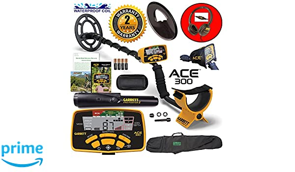 Amazon.com : Garrett ACE 300 Metal Detector with Waterproof Coil Pro-Pointer II and Carry Bag : Garden & Outdoor
