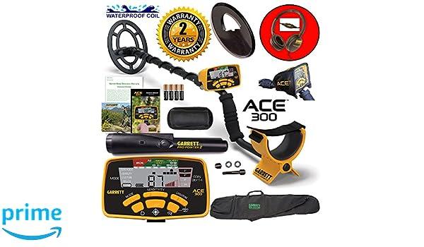 Amazon.com : Garrett ACE 300 Metal Detector with Waterproof Coil Pro-Pointer II and Carry Bag : Garden & Outdoor