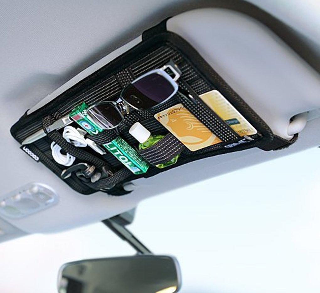 Auto Sonnenblende Tasche KFZ Organizer Mehrzweck Anti-Rutsch-elastische Nylon Auto Aufbewahrungstasche CD-Tasche fü r Handys Sonnenbrillen Kopfhö rern JIAHG