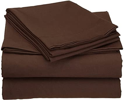 4 Pcs Bed Sheet Set Egyptian Cotton Queen Size - Chocolate Solid (1 Fitted Sheet, 1 Flat Sheet & 2 Pillow Cover) 6 inch Drop Elastic All Round 400 TC by Mahaveer Cotton