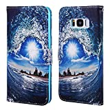 EnjoyCase Wallet Case for Galaxy S8 Plus,Colorful Wave Sun Pattern Pu Leather Bookstyle Card Slots Magnetic Flip Cover With Hand Strap for Samsung Galaxy S8 Plus