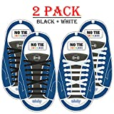 S-Laces - 2 Pack No Tie Shoelaces - Flat Elastic Laces by the Size - Best Quality and Style - For Casual Athletic Lifestyle Shoe Laces - For All wearing Sneakers, Boots (Black + White)