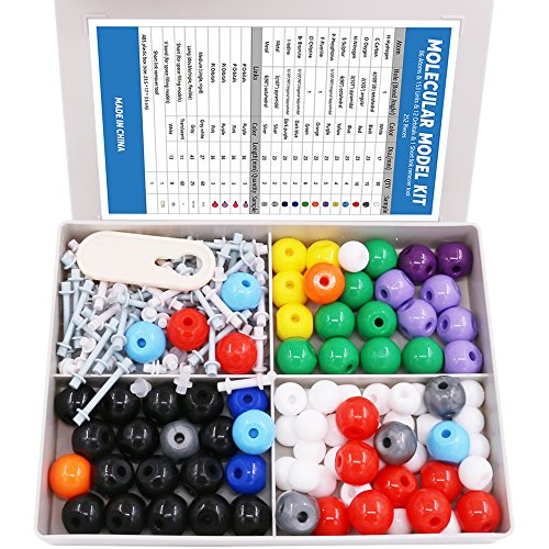 Swpeet 240 Pcs Organic Chemistry Molecular Model Student and Teacher Kit, Chemistry Molecular Model Student and Teacher Set - 86 Atoms andamp; 153 Bonds andamp; 1 Short Link Remover Tool