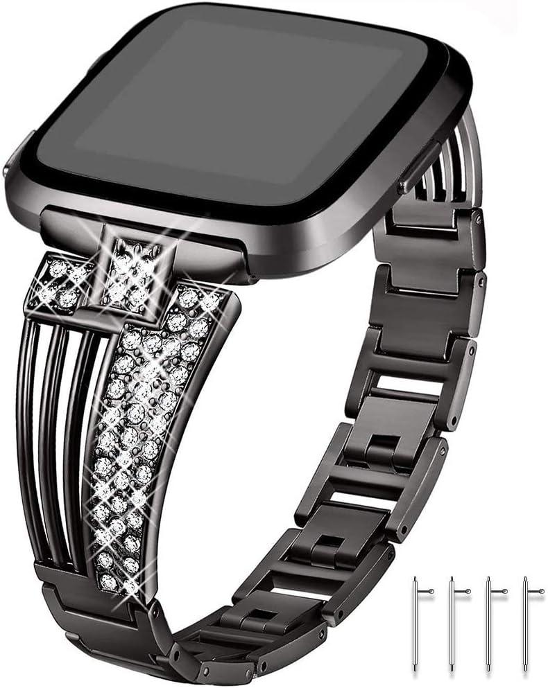 Myada - Correa de Repuesto para Fitbit Versa/Versa 2/Versa Lite, con Diamantes de imitación, Correa de Metal de Repuesto para Fitbit Versa/Versa 2/Versa Lite/Versa SE