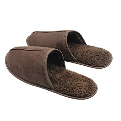 Aliddle Men's Memory Foam Sumelon Leather Slippers with Short Faux Fur House Shoes Indoor Outdoor (M) Brown | Slippers