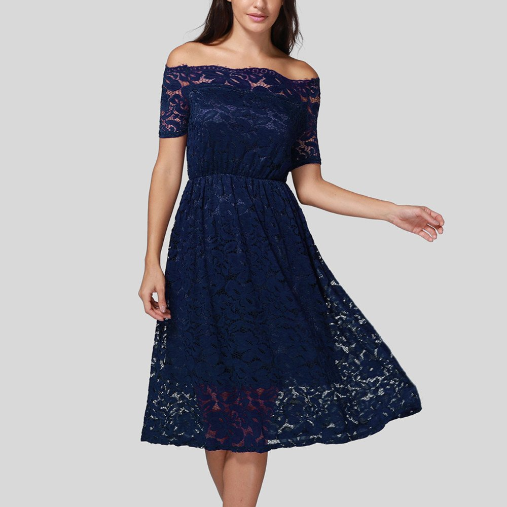 GOWOM Women Dress Vintage Off Shoulder Lace Formal  Evening Party Short Sleeve Dress(Navy,XX-Large) by GOWOM (Image #2)