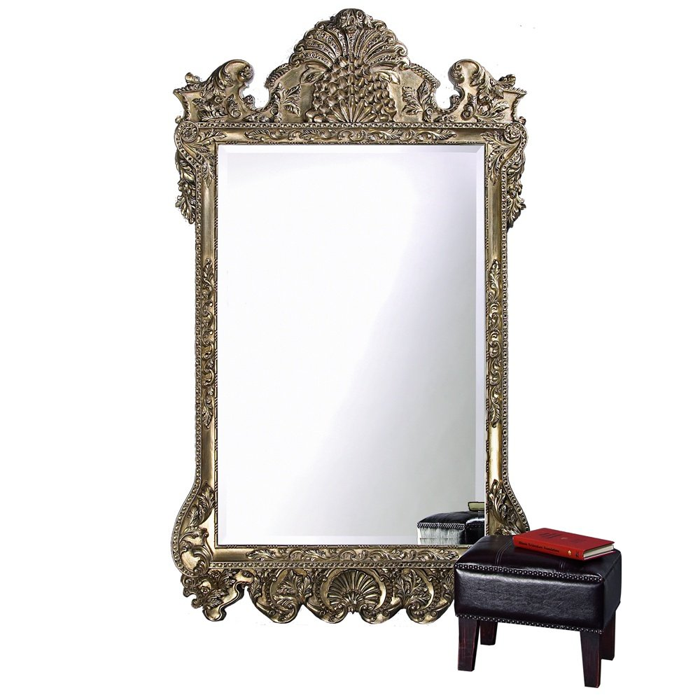 "Howard Elliott Marquette Antique Oversized Mirror, Leaning Wall Ornate Mirror, Full Length, Silver Leaf, 49"" x 84"" x 3"""
