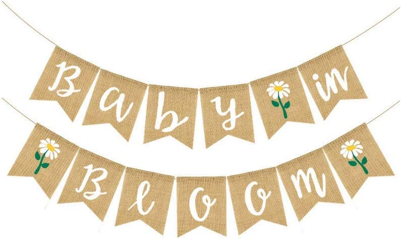 Baby in Bloom Banner Burlap Bunting Banner Garland Sign for Boy Girl Baby Shower Garland Decoration