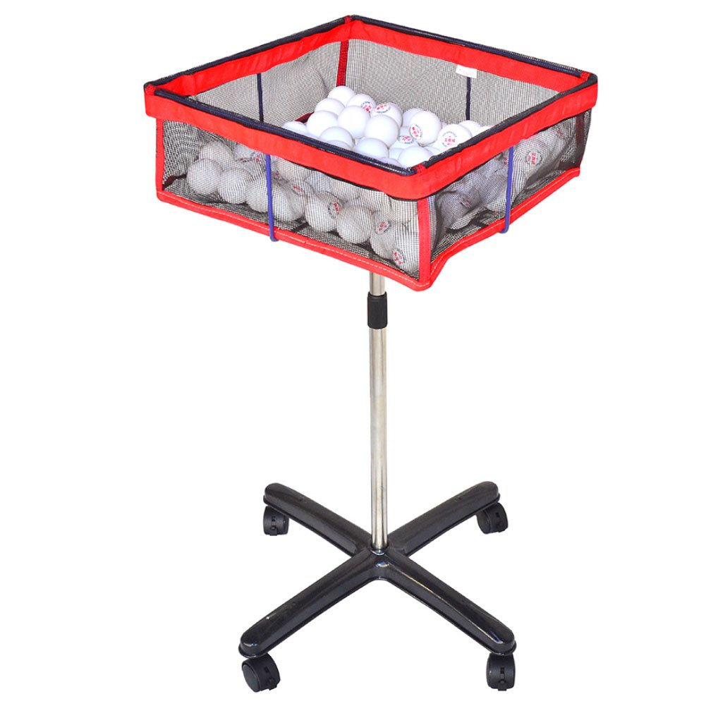 Lesmin Movable Square Multi-ball Storage Mesh Bag with Height Adjustable Stand, Table Tennis Ball Mesh Basin Equipment for Training,Outdoor Sports,Golf,Badminton etc