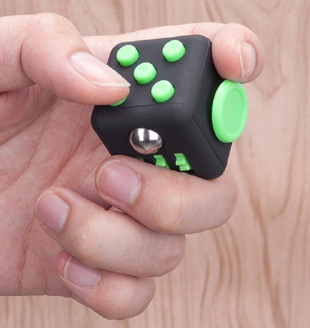 MATECam Fidget Würfel - Cube Gegen Stress, unruhige Hände, Perfekt für Nervöse Finger zur Ablenkung (2pack - Schwarz& Grün) unruhige Hände Cube6