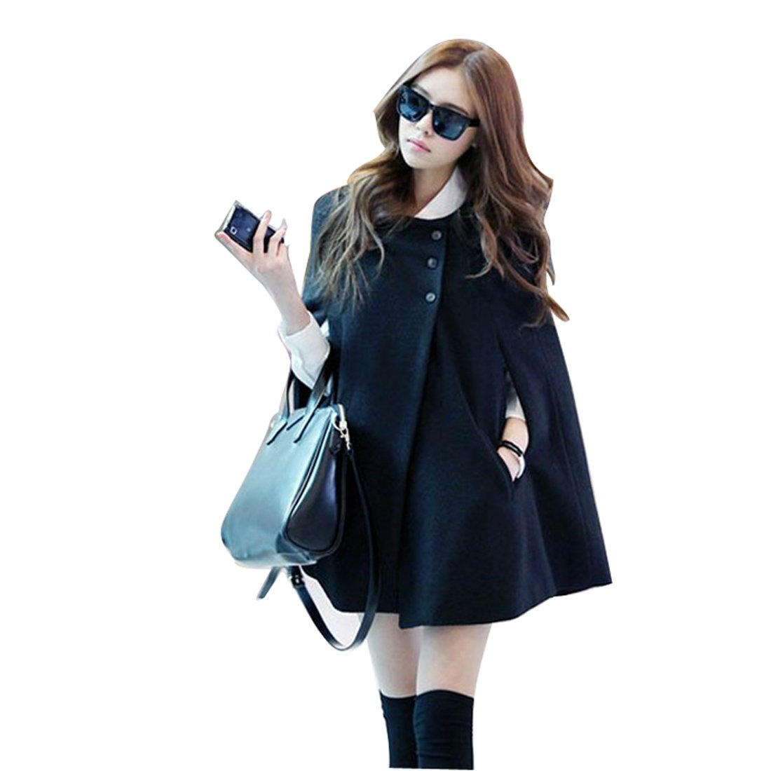 Gaorui Women Fashion Cape Bat wing Poncho Cloak Woolen Coat Top Black cappa Jacket