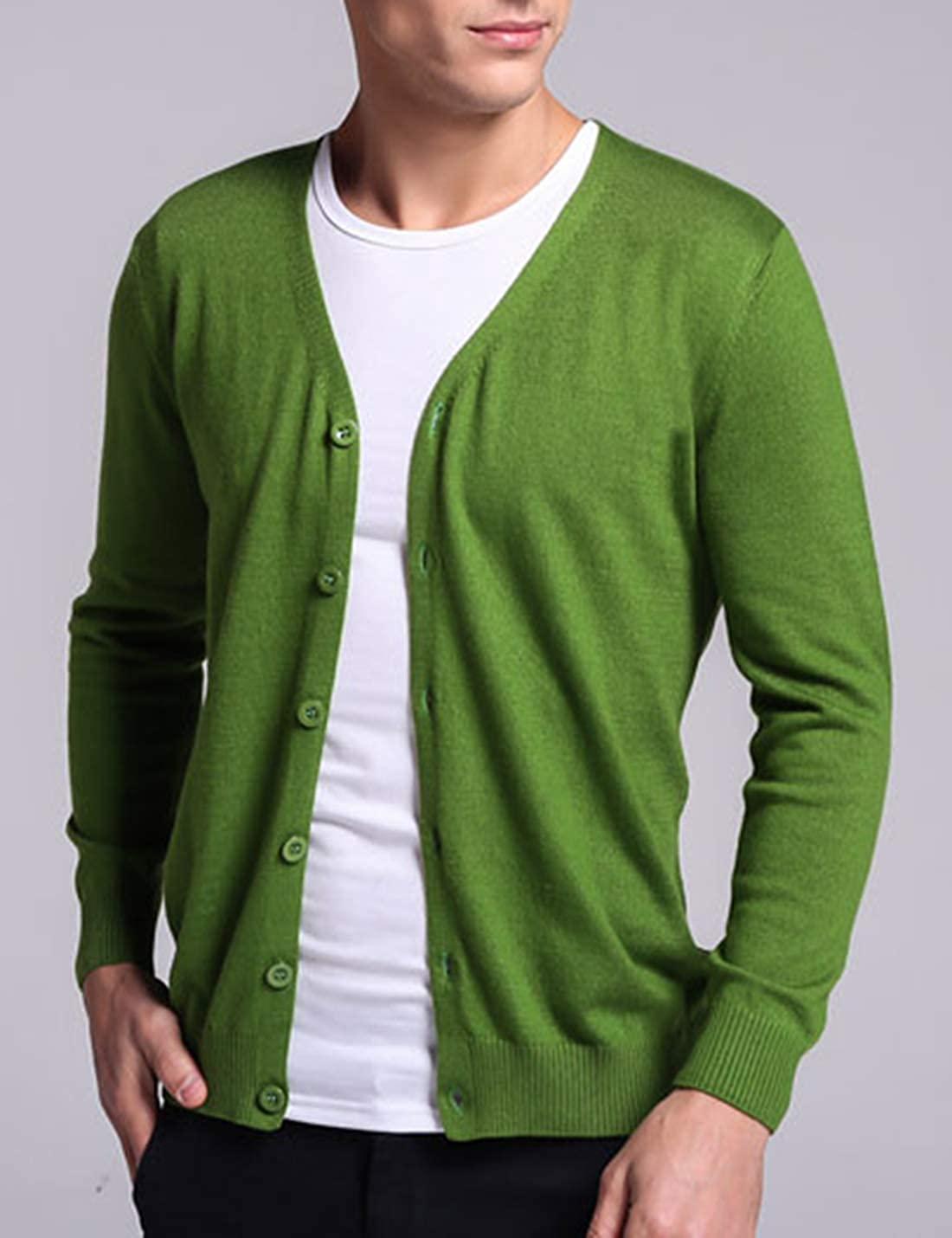 Lentta Mens Slim Fit Solid Color Wool Blend Cotton Knitted Cardigan with Buttons