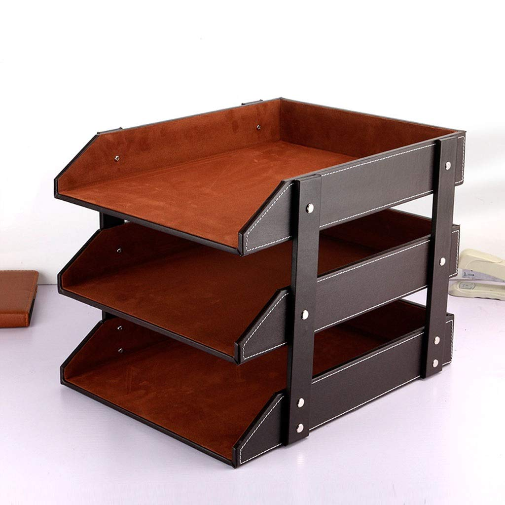 YCYG File Shelf, Desk Organizer, Desktop Organizer, File Holder Leather, Three-Layer Tray, Stacking Sorter Sections, Brown (A) by YCYG