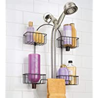 INDIAN DECOR 289784 Metal Hanging Bath and Shower Caddy Organizer for Hand Held Shower Head and Hose - Storage for Shampoo, Conditioner, Hand Soap - 4 Shelf Format - Matte Black