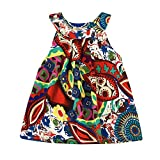 Kobay Baby Kids Girls Bohemian Princess Dress Flower Beach Sundress Clothes (Suit for 2-6 Years Girls) (Red, 3-4 Years/120)