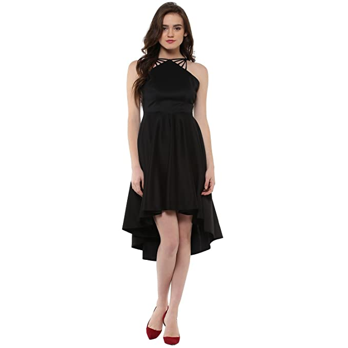 04577a581b Roving Mode Women s Scuba Crepe Strappy High-Low Halter Neck Dress   Amazon.in  Clothing   Accessories