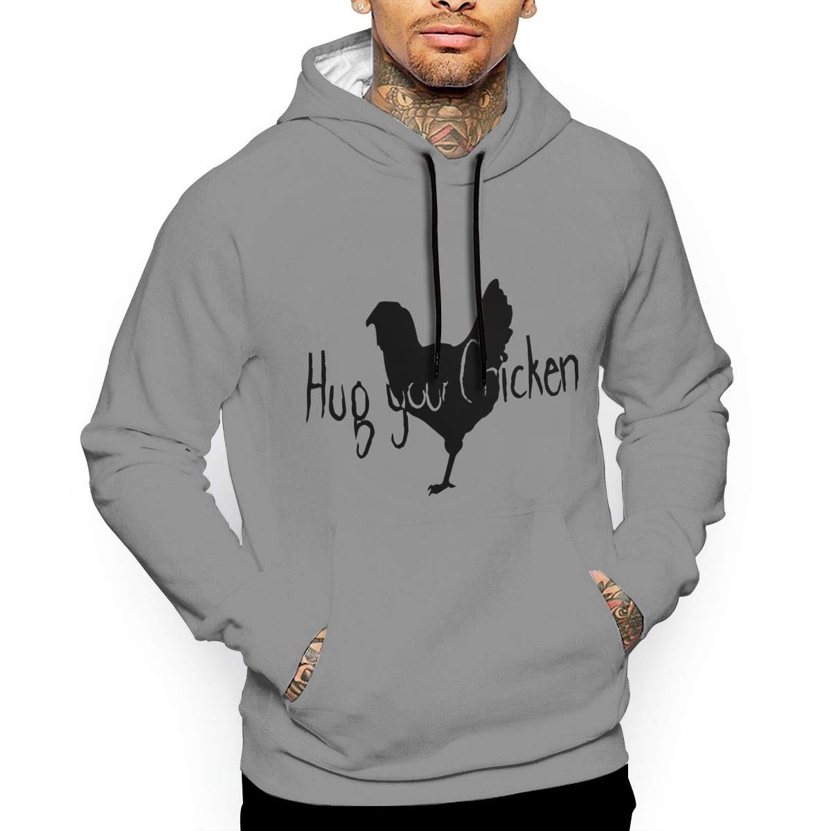 Ou50IL@WY Mens Hug Your Chicken Pullover Hoodie Comfortable Cotton Sweatshirt with Pocket for Men