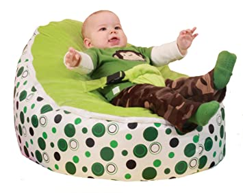 SnuggleRoo Baby Bean Bag Chair FILLED And WATERPROOF Green Polka Dots