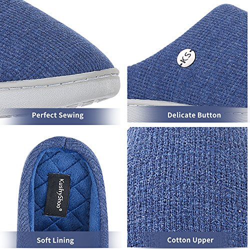 Cotton Slippers Women Memory with Navy Upper Sole Insole Foam TPR KushyShoo Breathable 74RxqXqB