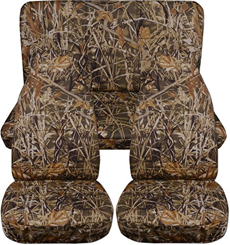 Totally Covers Fits 1997-2006 Jeep Wrangler TJ Camo Seat Covers: Wetland Camouflage - Full Set: Front & Rear (19 Prints) 1998 1999 2000 2001 2002 2003 2004 2005 2-Door Complete - Sport Upholstery Set Seat