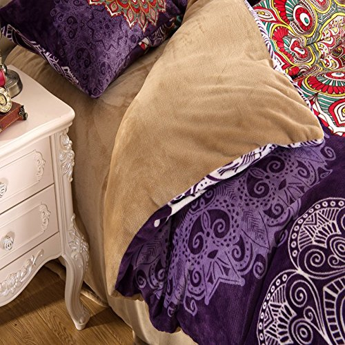 LELVA Bohemian Flannel Bedding, Boho Bedding Set, Bohemian Duvet Cover Set, Queen King Size 4pcs