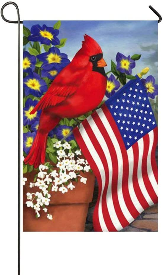 Mark Reynolds American Pride Red Cardinals Purple Morning Glory Garden Flag Holiday Decoration Double Sided Flag 12.5