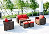 Cheap 6 Piece Outdoor PE Rattan Wicker Patio Furniture Sectional Sofa Set (Red)