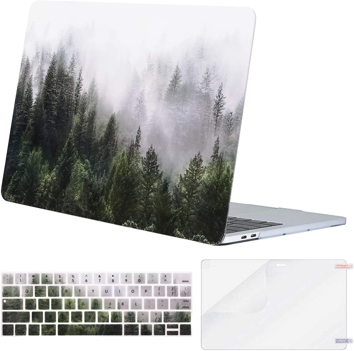 MOSISO MacBook Pro 13 inch Case 2019 2018 2017 2016 Release A2159 A1989 A1706 A1708, Plastic Pattern Hard Shell Case&Keyboard Cover&Screen Protector Compatible with MacBook Pro 13, Green Forest