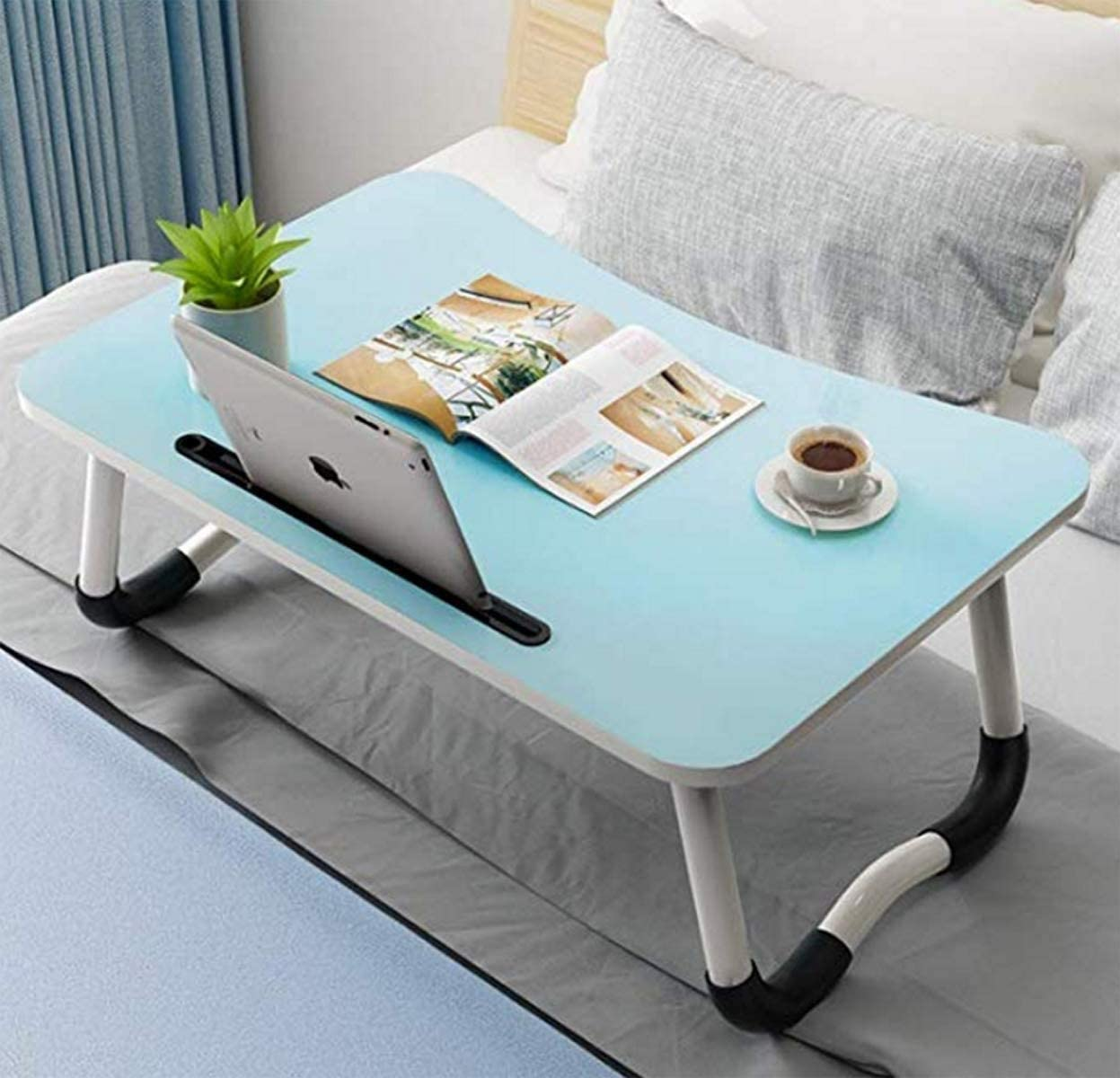 Laptop Bed Tray Table, Foldable Lap Desk Stand, Multifunction Lap Tablet with Slot and Cup Holder, Bed Tray Laptop Desk for Eating Breakfast, Reading, Working, Watching Movie on Bed/Couch/Sofa/Floor