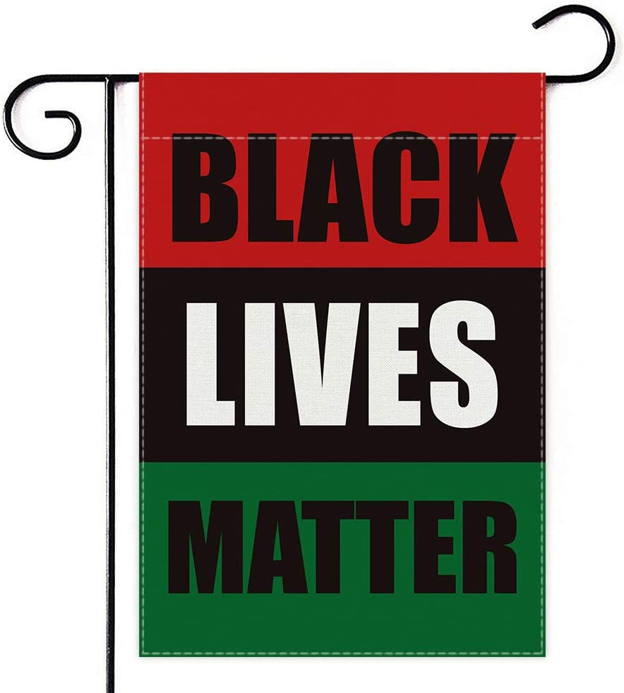 Dswesun Black Lives Matter Pan-African Garden Flag , UNIA Afro-American Black Liberation Flag Two Layer Fabric and Double Sided Printing , Garden Flags Yard Décor and Front Porch Décor,12.5 x 18 Inch