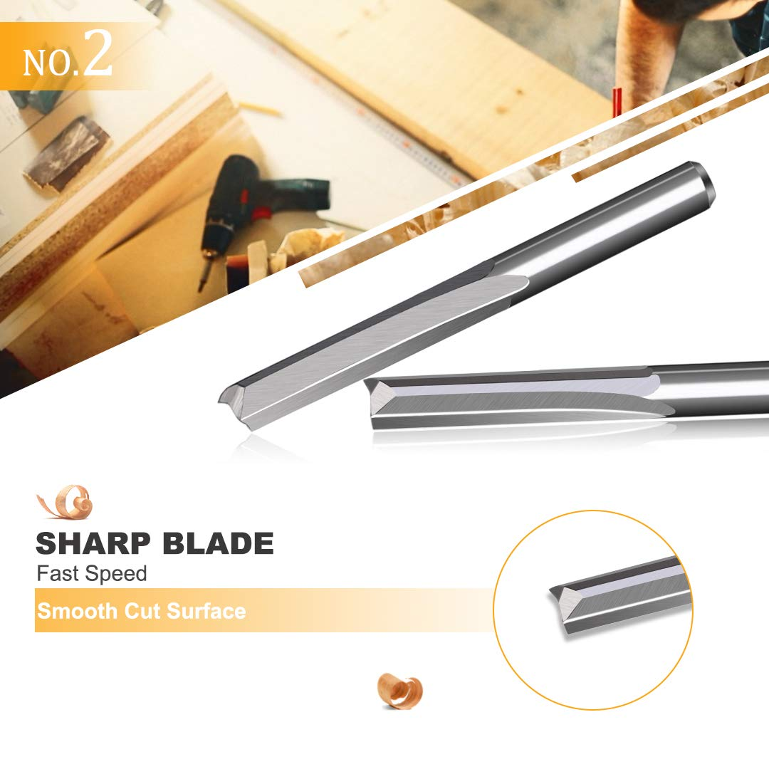 Double Edged CNC Slot Cutting Router Bit for Wood MDF Acrylic Milling 10pcs 2 Flute Tungsten Steel Straight Router Bits