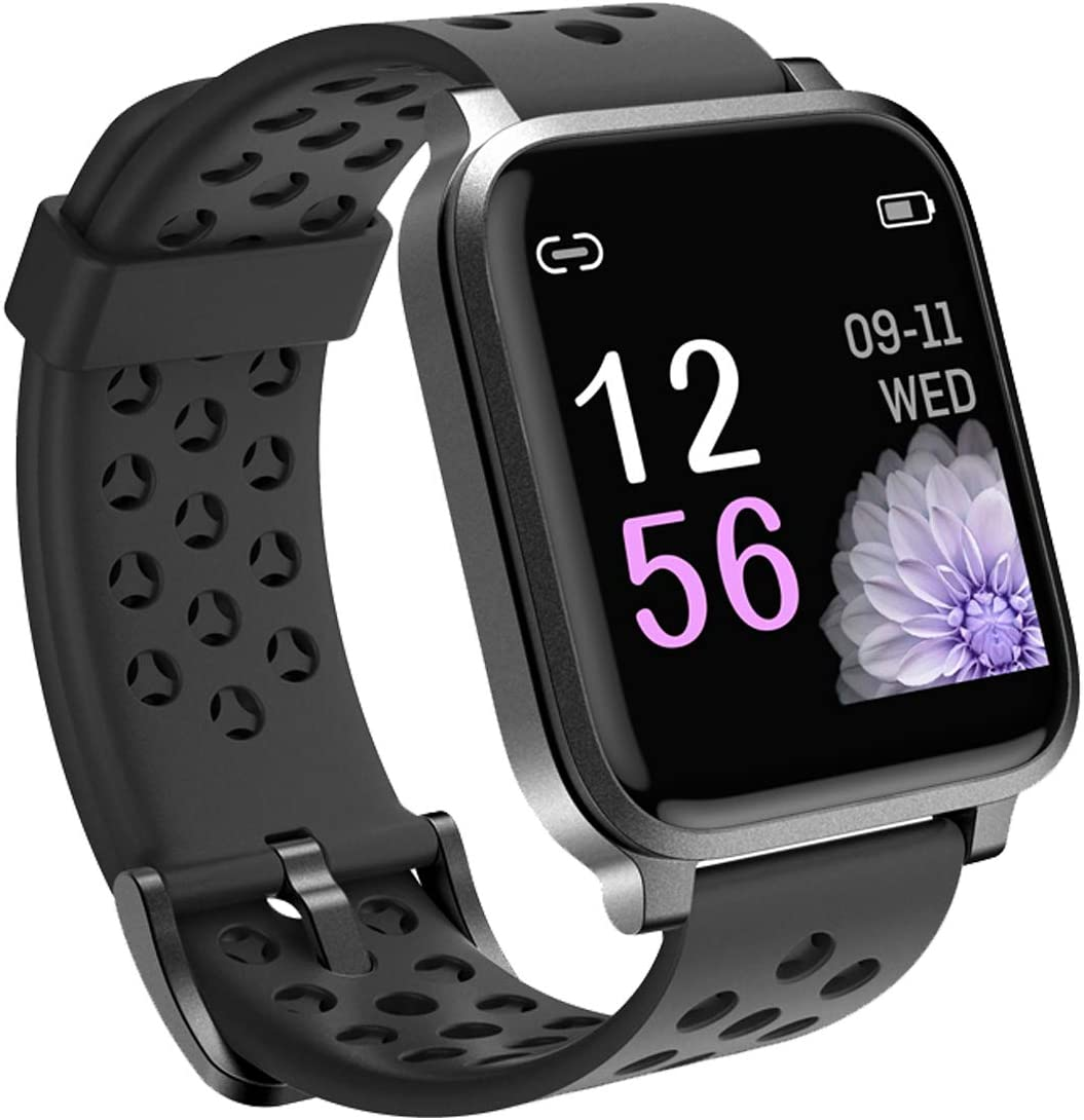 Pard 2020 Smart Watch, Full Touch Fitness Tracker with Dynamic Heart Rate Monitor, IP68 Waterforoof Sport Wristband for Men Women Kids, Black