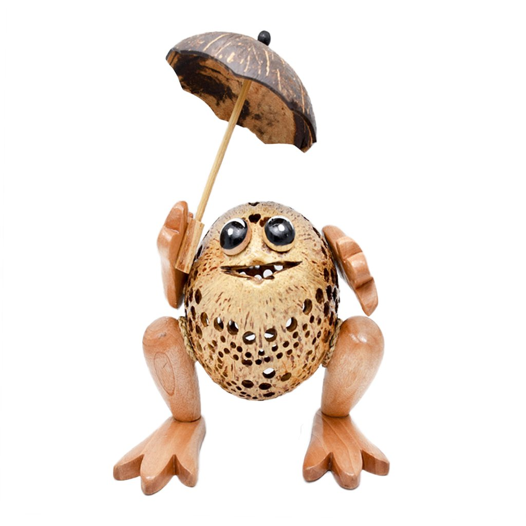 Coconut Shell Lamp – Frog Lamp night Wooden Crafts Handmade decorative