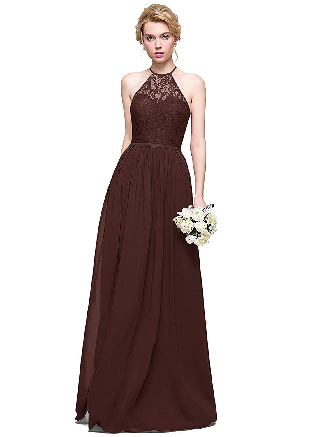 Chocolate Halter Lace Sweetheart Neck Bridesmaid Dresses Long Prom Evening Gown