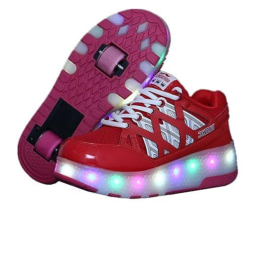 Ali-Tone LED Niños Niñas Patines de Ruedas Zapatos con Ruedas Dobles Ruedas Individuales retráctil Skateboard Patines al Aire Libre Deportes Cruz: ...