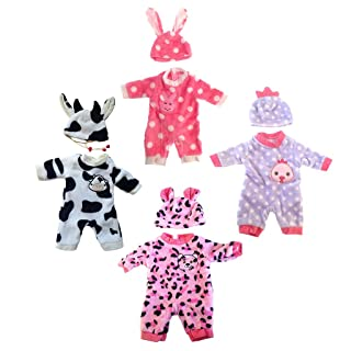 SM SunniMix 4 Sets Baby Doll Animal Jumpsuit Hat Set for 20inch Reborn Doll Dress Up Accessories