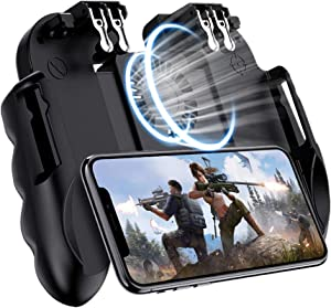 """EMISH Mobile Game Controller Gamepad with Power Bank and Cooling Fan Trigger Aim Button L1R1 L2R2 Shoot Joystick for 4.7-6.5"""" iPhone Android Phone Accesorios"""