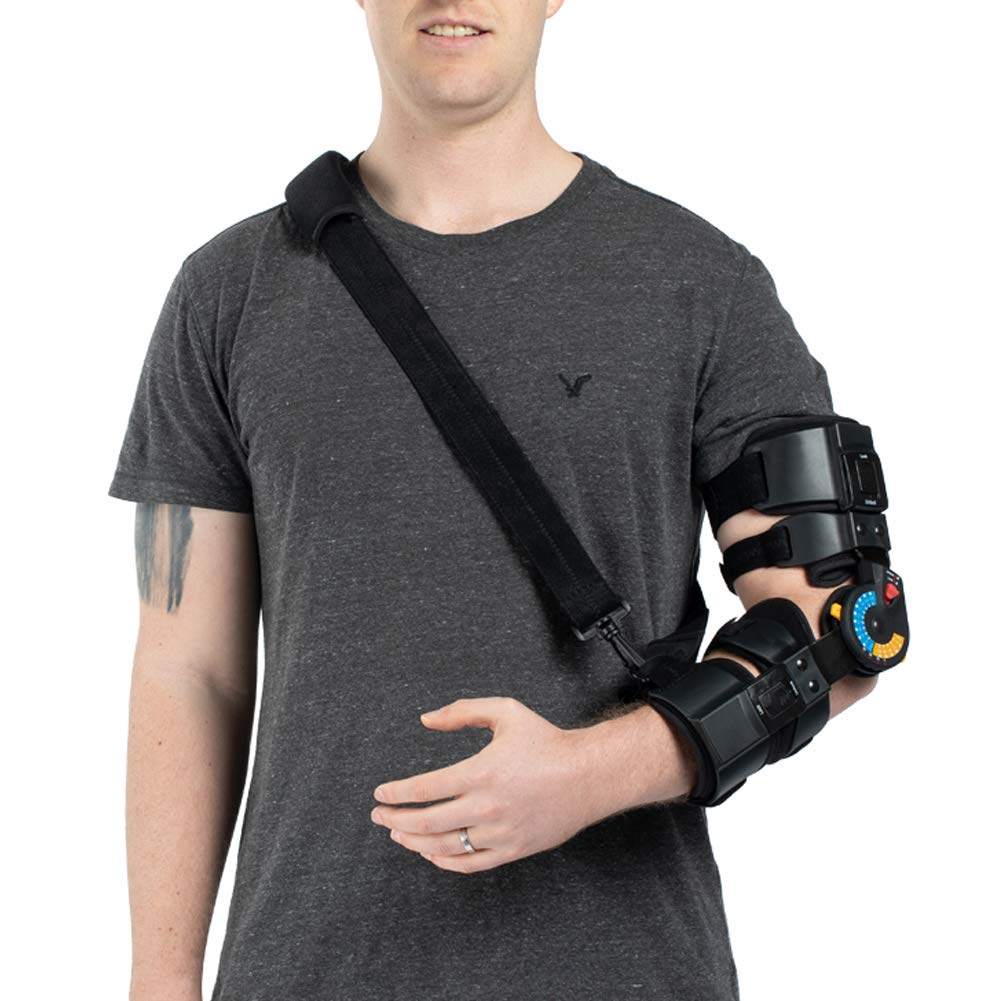 Hinged ROM Elbow Brace with Strap, Post OP Elbow Brace Stabilizer Splint Arm Orthosis Injury Recovery Support - Left