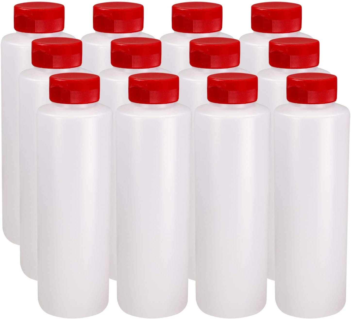 Pinnacle Mercantile Condiment Squeeze Bottles with Flip Top Hinged Red Cap 16 oz Set of 12 (Perfect for Condiments, Sauces, Dressings, BBQ, Ketchup) Made USA
