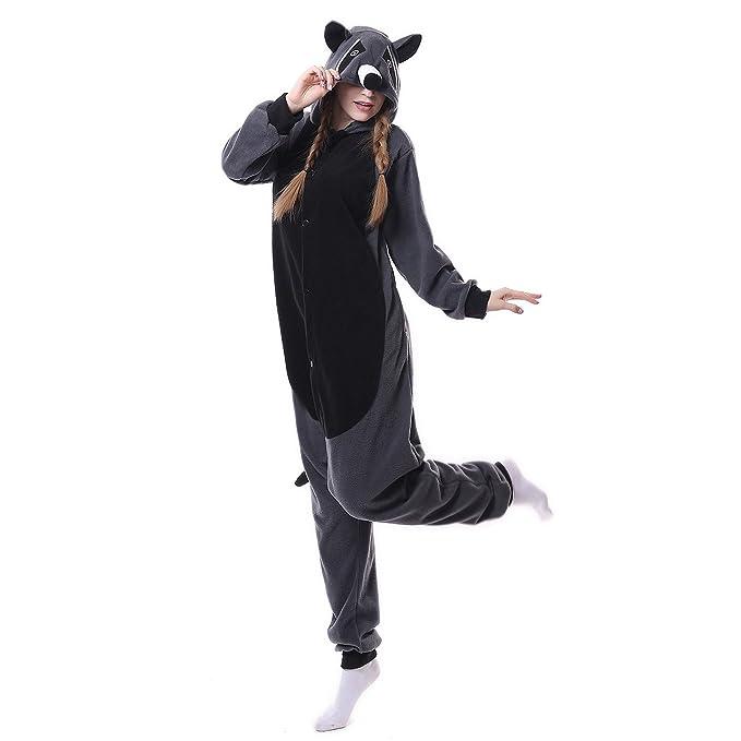 Amazon.com: Pijama de mapache gris unisex, disfraz de animal ...