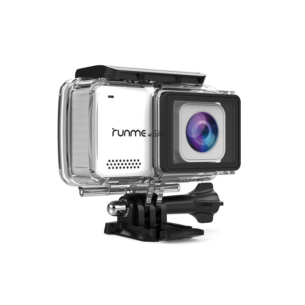 """RUNME R3 2.45"""" Touchscreen 4K 16MP Wi-Fi Action Camera, Sony Image Sensor, 30M Water Resistant Camcorder with 170° Wide-angle Lens, Sports Cam with Accessories Kit & 2 Rechargeable Batteries (White)"""