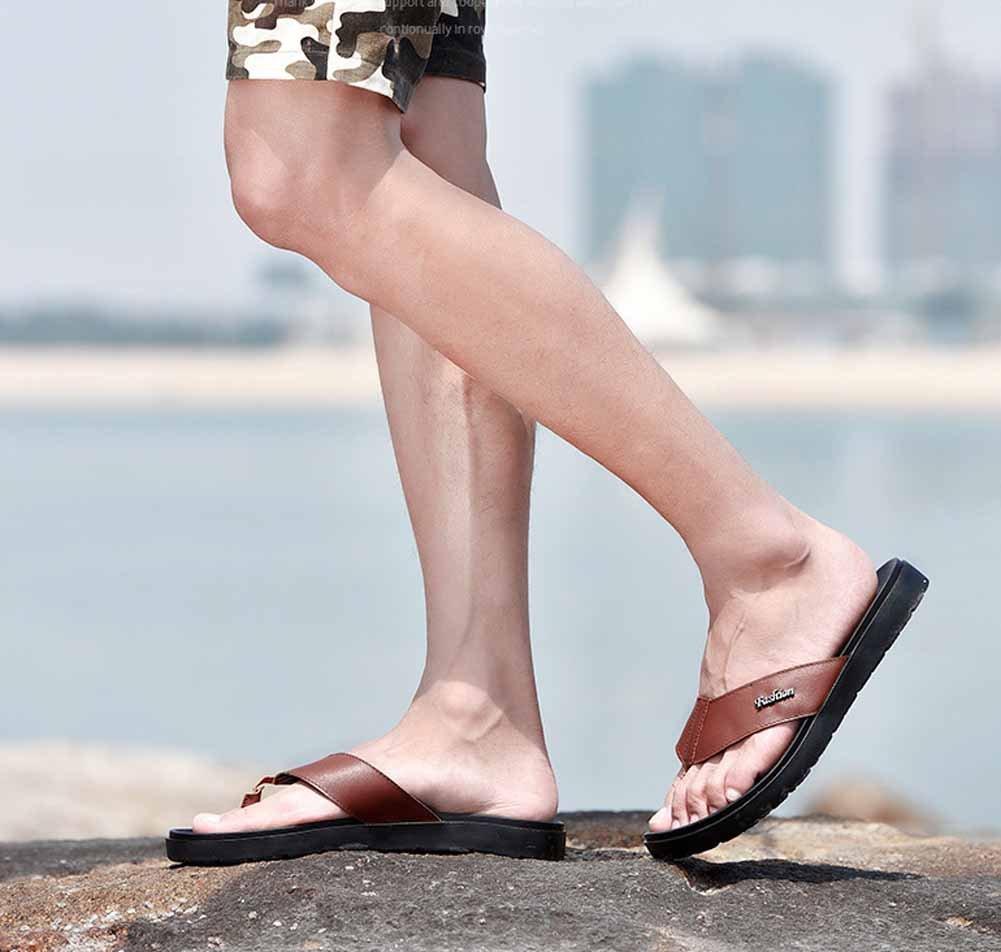GLSHI Männer Sandalen Sommer Flip-Flops Outdoor Sandalen Rindsleder Sohle Rindsleder Sandalen Sandalen Leder Clip Toe Hausschuhe 6c1c45
