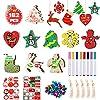Decorazioni Albero Natale in Legno, 50 pezzi ornamenti appesi di Natale con 8 pennarelli, 50 campane tintinnanti, 4 adesivi natalizi, ideali per l'albero Natale appesi Decor & Art Crafts regalo DIY 10 spesavip