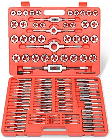 ABN Large Tap and Die Set Metric Tap and Die Kit Rethreading Tool Kit Thread Maker Hole Threader 110-Piece Set Metric