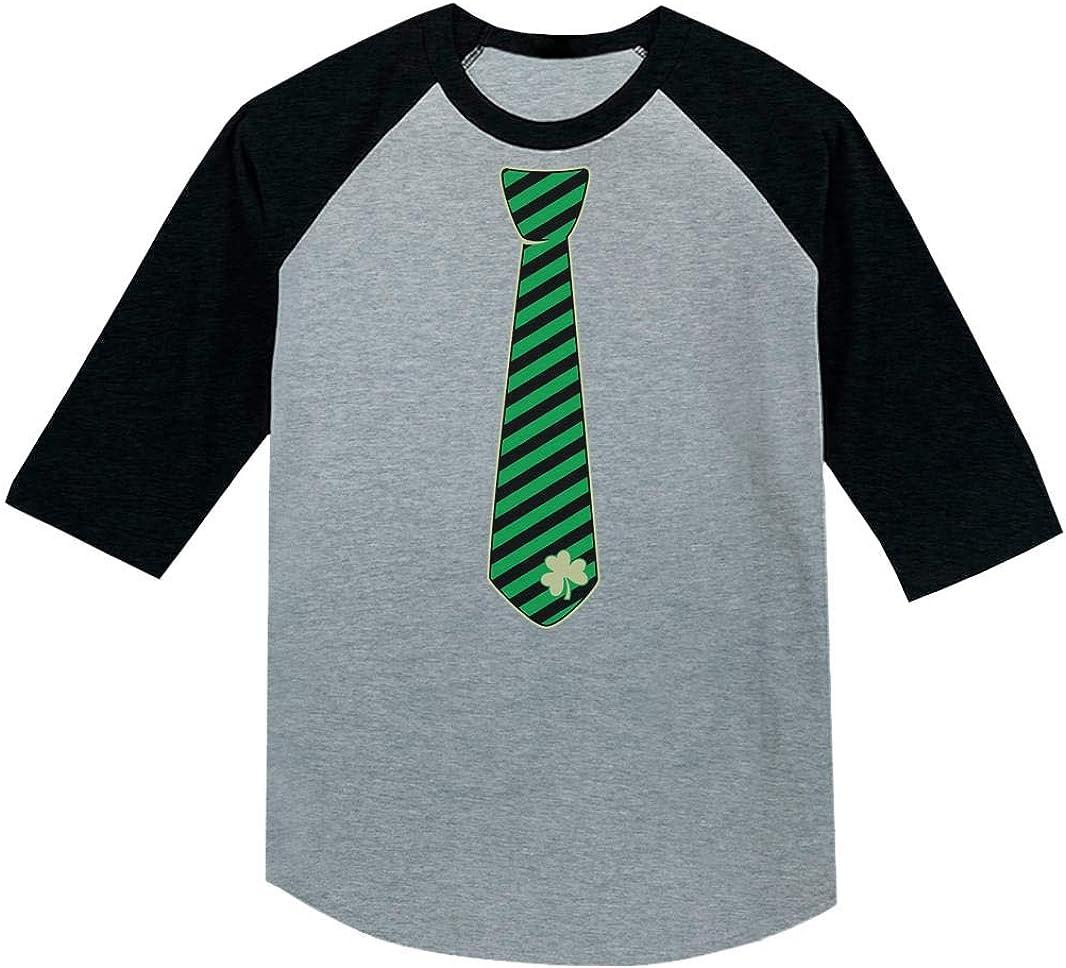 Irish Clover Striped Tie St Patricks Day Toddler Raglan 3//4 Sleeve Baseball Tee