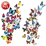 Tools & Hardware : Wall Decal Butterfly, 80 PCS Wall Sticker Decals, 3D Butterfly Stickers for Room Home Nursery Decor