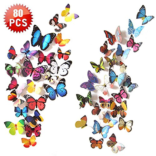 Heansun 80 PCS Wall Decal Butterfly, Wall Sticker Decals for Room Home Nursery Decor (Butterfly Decals)