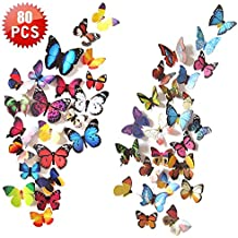 Wall Decal Butterfly, 80 PCS Wall Sticker Decals, 3D Butterfly Stickers for Room Home Nursery Decor