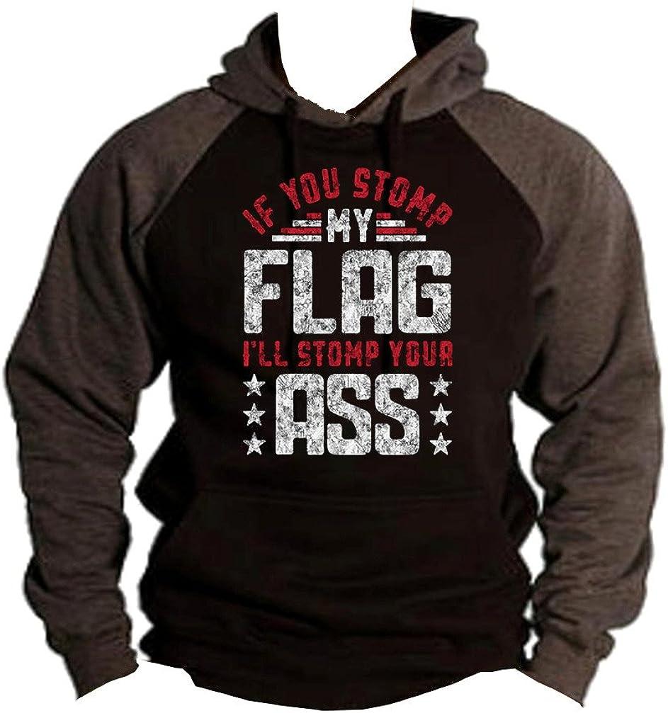 Interstate Apparel Mens Stomp My Flag Ill Stomp Your Ass Black//Charcoal Raglan Baseball Hoodie Sweater Black